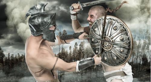 Gladiators fighting
