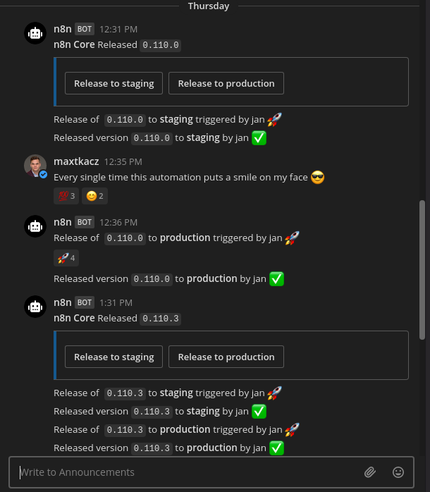 A Mattermost chat window with messages about n8n version releases posted by the n8n bot.