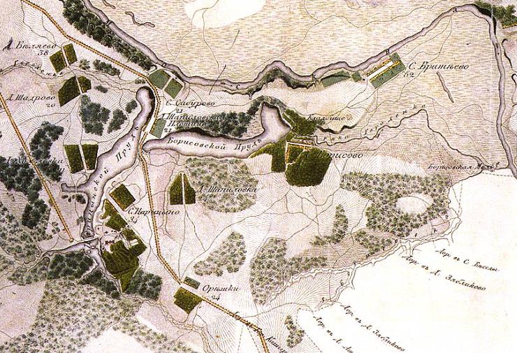 Деревня Орехово на карте 1818 года.