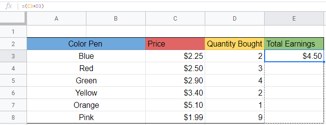 Shows how where to click and drag the formula