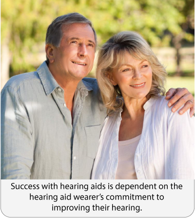 Success with hearing aids is dependent on the hearing aid wearer's commitment to improving their hearing.