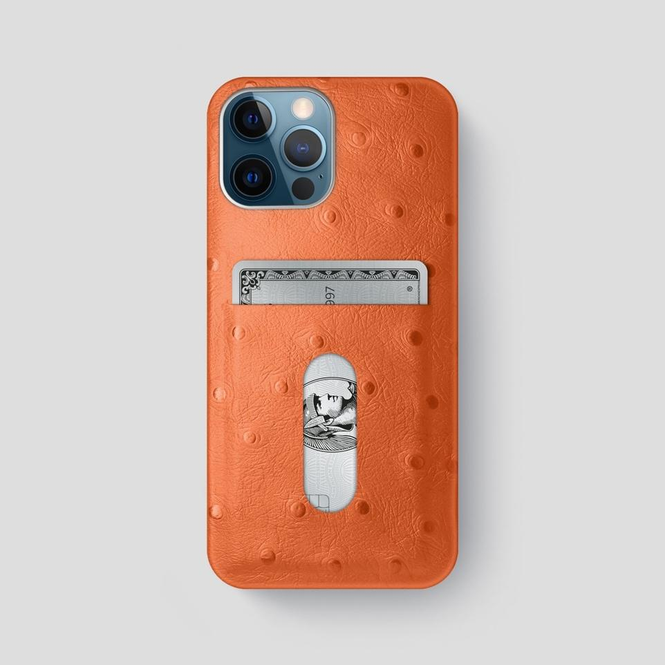 Orange iPhone 12 Pro Max Card Case Ostrich with Steel Metal -1