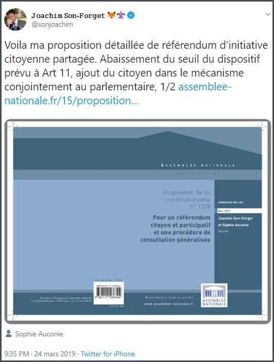 Tweet JSF Voici ma proposition détaillée de référendum d'initiative citoyenne partagée