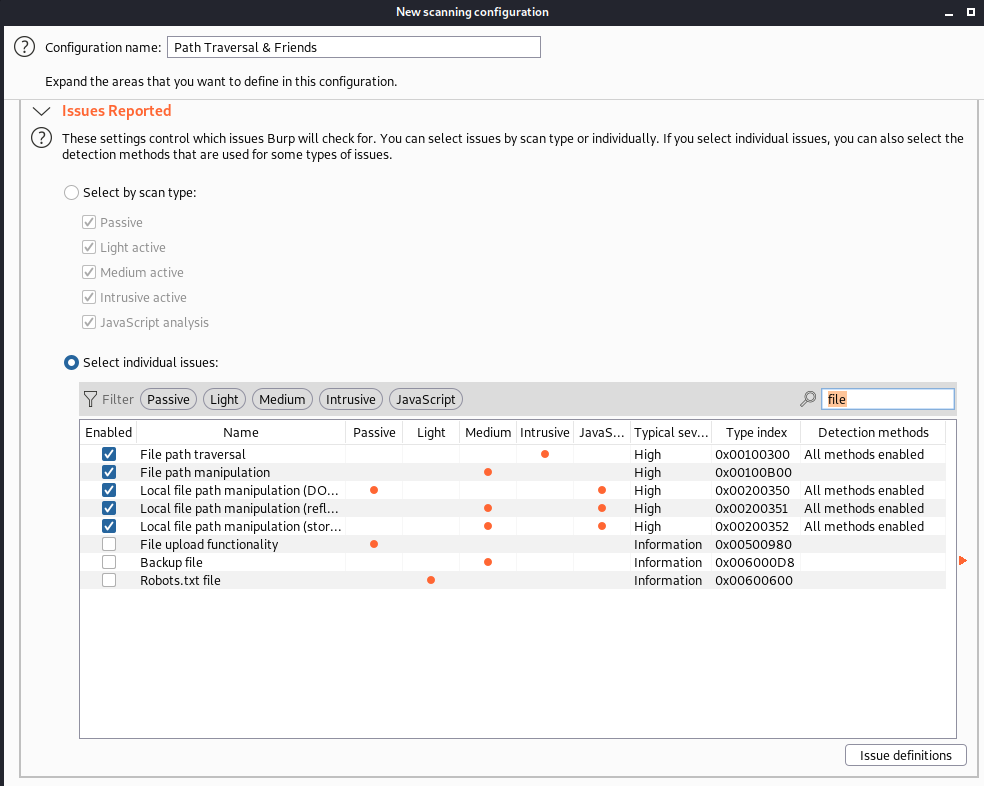 A screenshot of a scan template for path traversal can easily be created within BurpSuite's scan configuration library as shown here by White Oak Security.