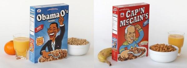 The image shows the repackaged election themed cereals developed by Airbnb founders