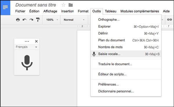 Saisie vocale dans Google Docs