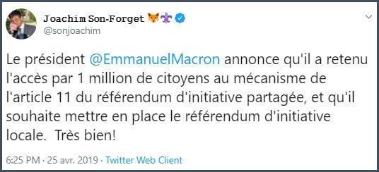 Tweet JSF Le président Emmanuel Macron annonce qu'il a retenu l'accès par 1 million de citoyens