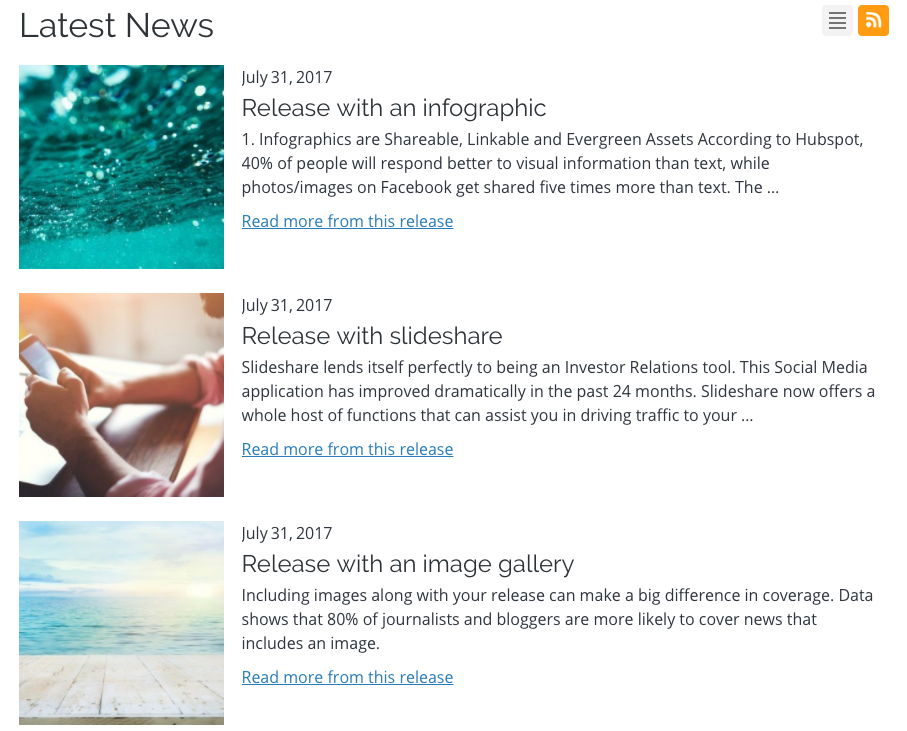 headlines module with images and release text snippet