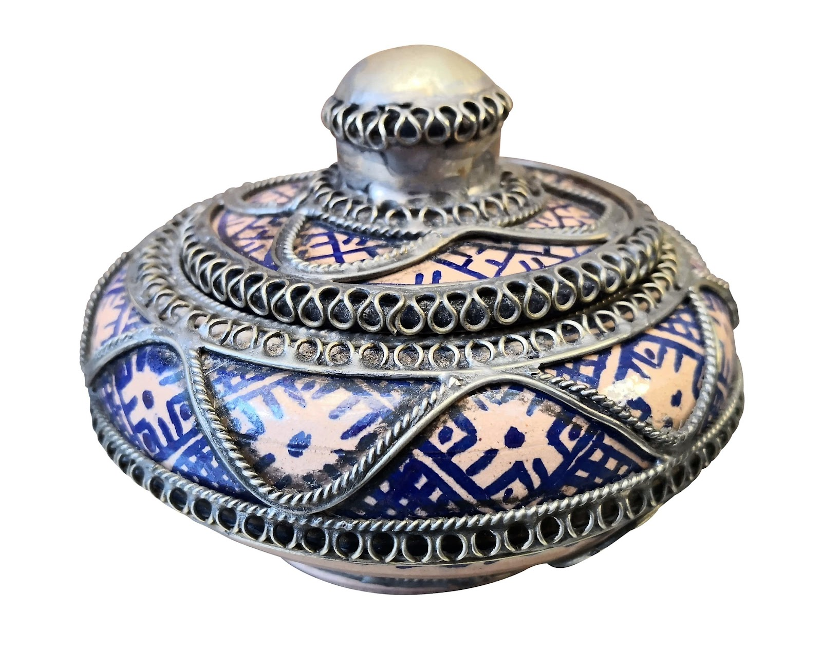 African pink and blue vintage decoration