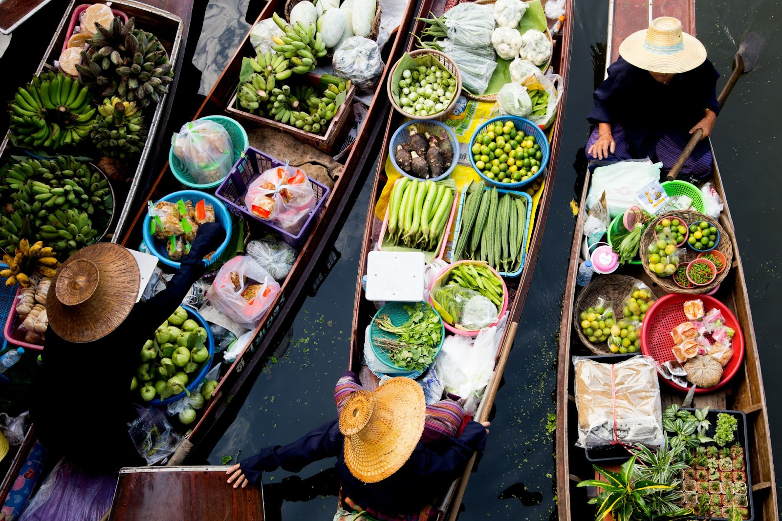 Famous outdoor floating market in Thailand