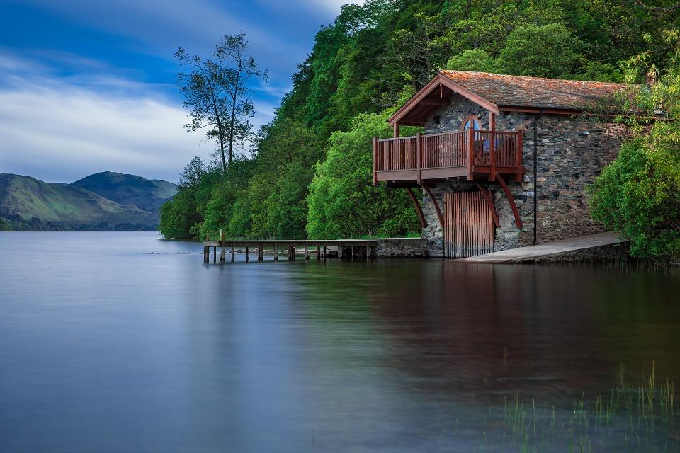 Descripción: Boat House, Cottage, Waters, Lake, Scotland, Blue