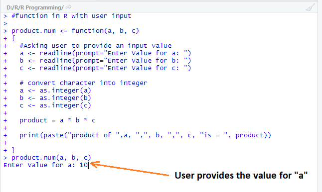 This image shows how the system asks for a user to provide input.