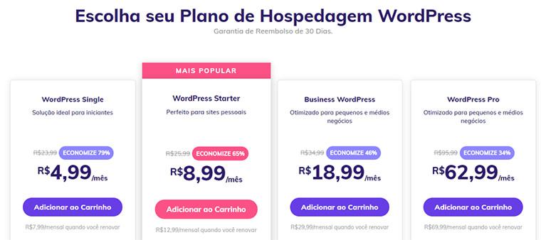 planos de hospedagem wordpress da hostinger