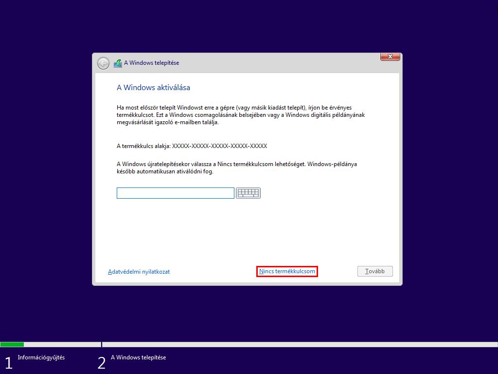 Windows 10 licenszkulcs megadása
