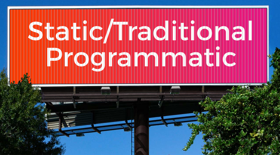 Traditional signage programmatic out of home advertising. Source: Tasty Ad - Digital Signage vs Static Signage - The Rev