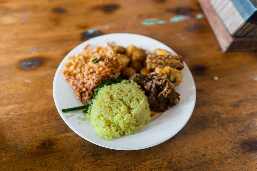 Nasi campur food in Canggu.