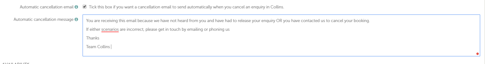 Booking Types - Adding Text to the Cancellation Email