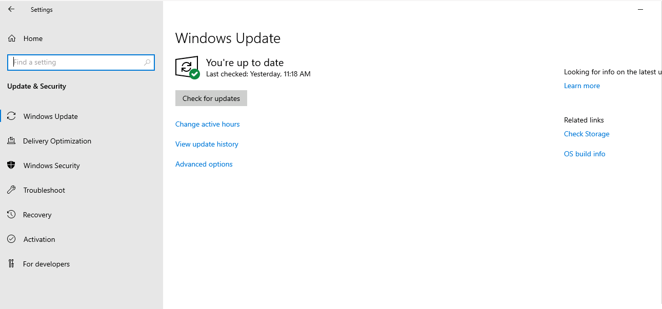 Operating System updates check