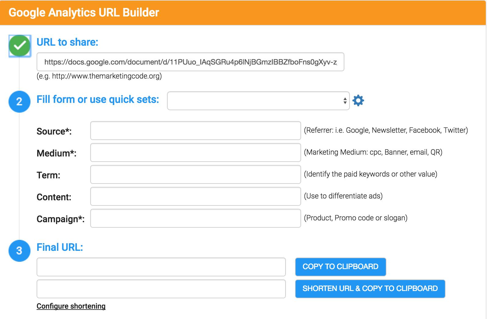 Google Analytics URL Builder Chrome Extension