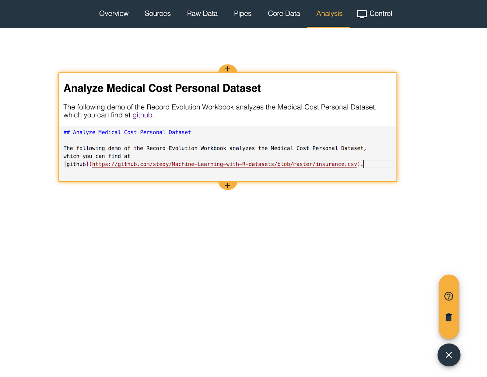 markdown card in data science workbook