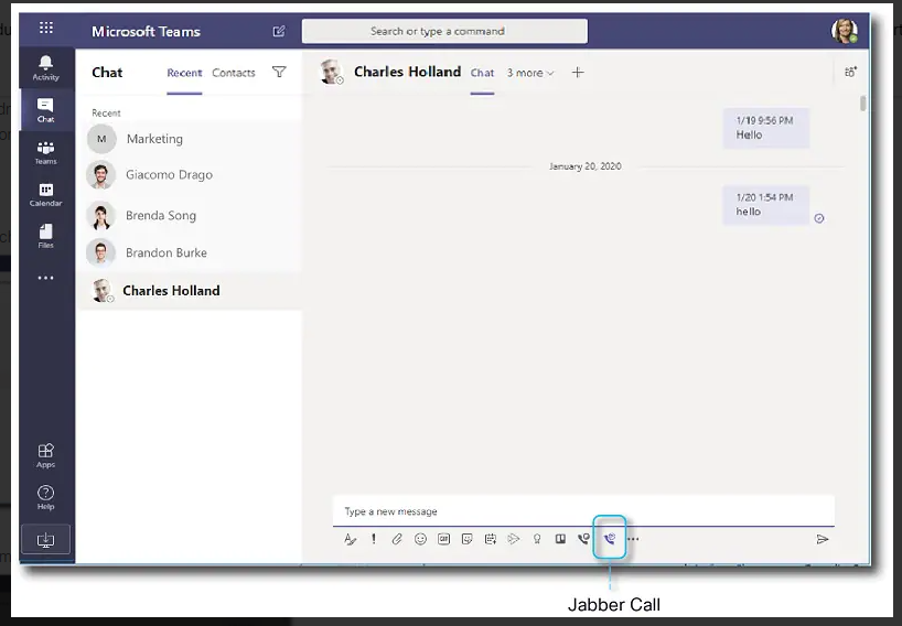Initiating Cisco Jabber calls from Microsoft Teams chat