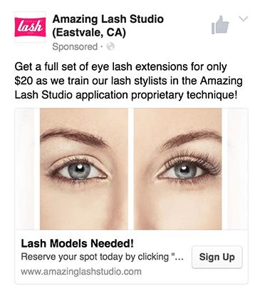 Amazing Lash Studio Facebook Ad Screenshot