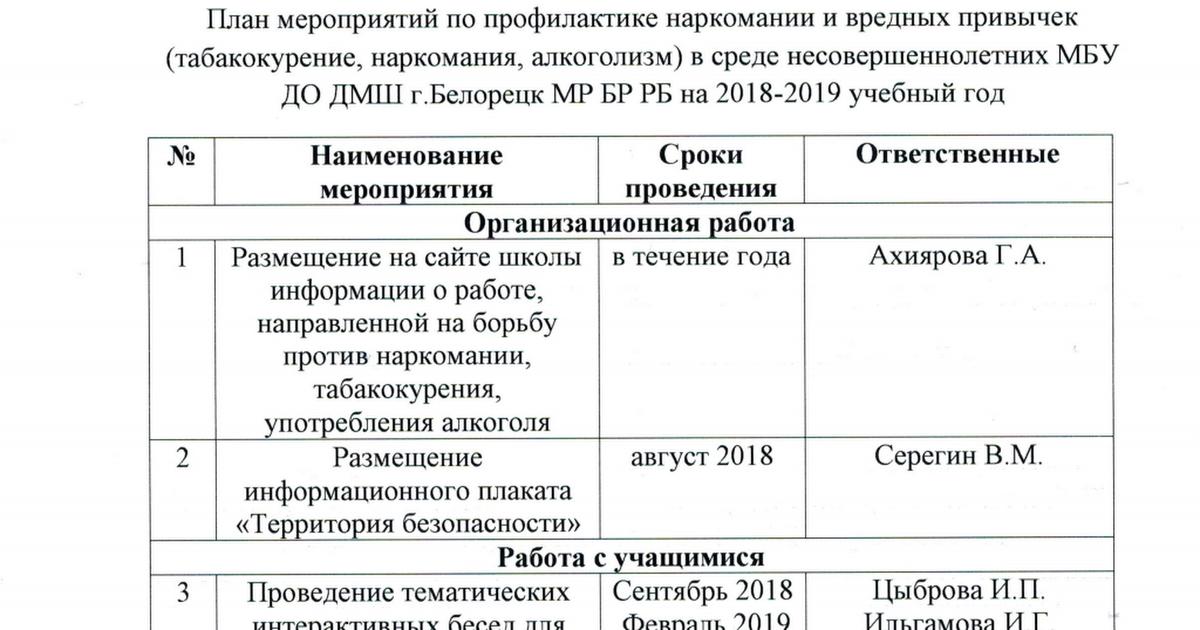 План по профилактике наркомании на учебный год лечение наркомании в москве на дому