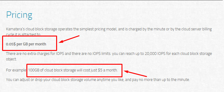 Cloud Block Storage Pricing