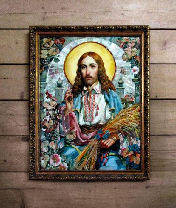 Ікона зІсусом Христом увишиванці висить уміжконфесійній церкві, яку 15грудня 2019року відкрили вКарлівці Донецької області. Їїпобудували заволонтерські кошти
