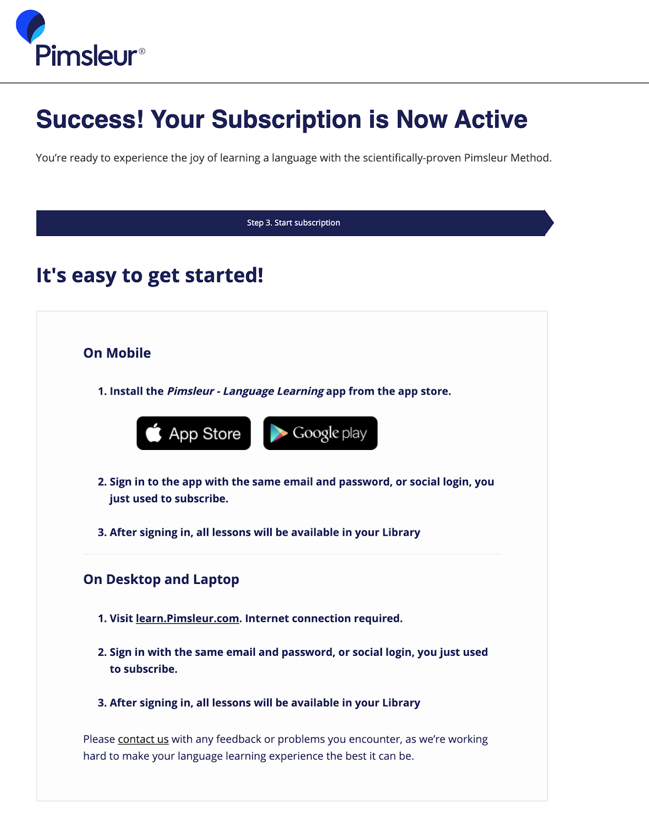 Order summary for Pimsleur Subscription