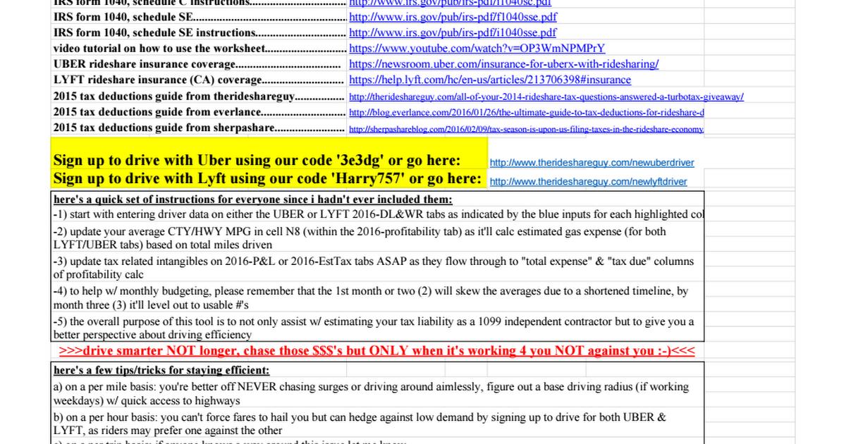Rideshare Guy Bills Tracking Spreadsheet 2016 Earnings Google