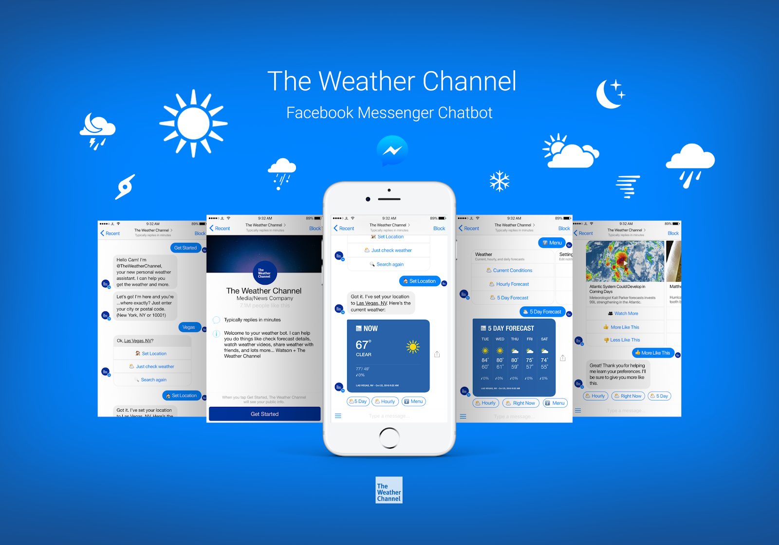 The Weather Channel Facebook Messenger chatbot design concept by Denise Francis.