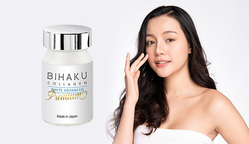 Viên uống trắng da Bihaku Collagen White Advanced Premium 330mg 30 viên