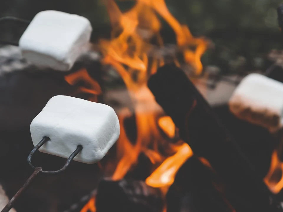 Marshmallows rond het kampvuur met verhalen