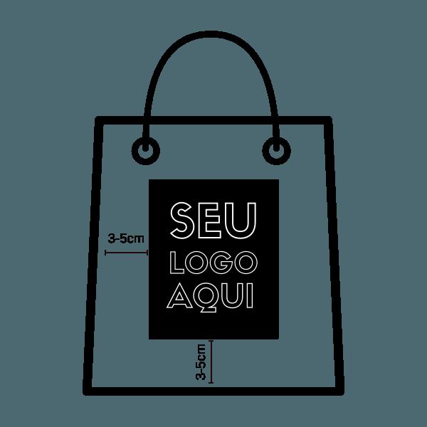 """Ilustração de uma sacola com os seguintes frase no centro da sacola """"seu logo aqui"""""""