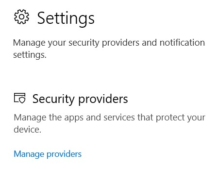 The Security Providers section with the Manage Providers link
