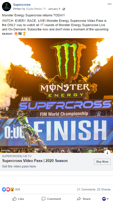 Gupta Media ad for Facebook Ad Type article, Supercross Image Ad