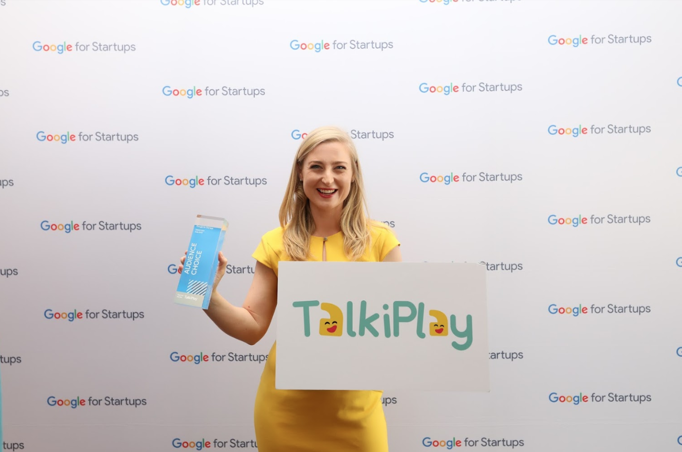 Photo of Annie McAuley, founder of TalkiPlay, at the event,