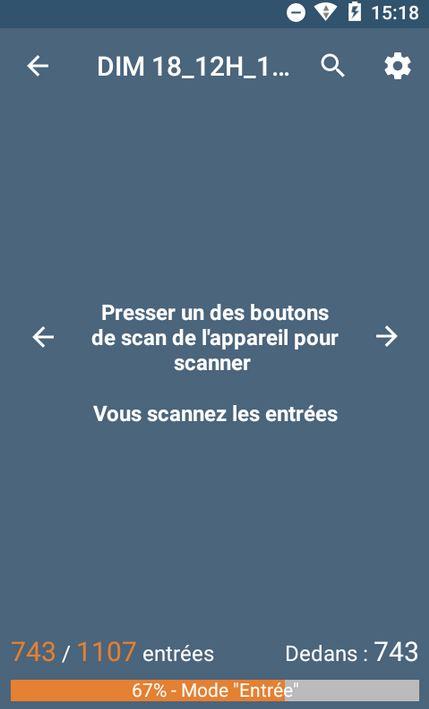 Capture d'écran de l'affichage de la jauge sur l'application Yurplan Pro Entry.