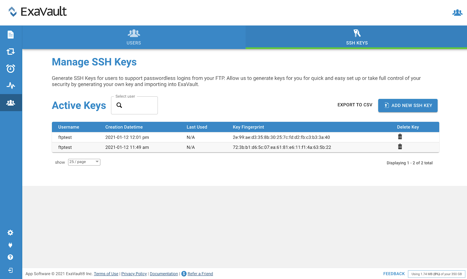 Interface for managing SSH keys in ExaVault.