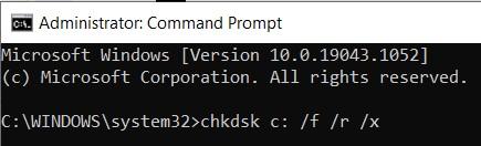 chkdsk c: /f /r /x command line