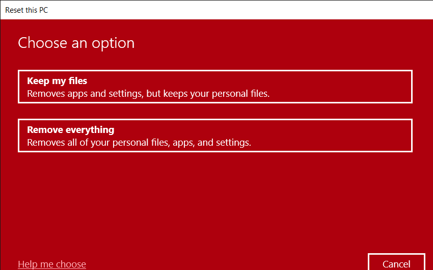 choose to Remove files or Keep files