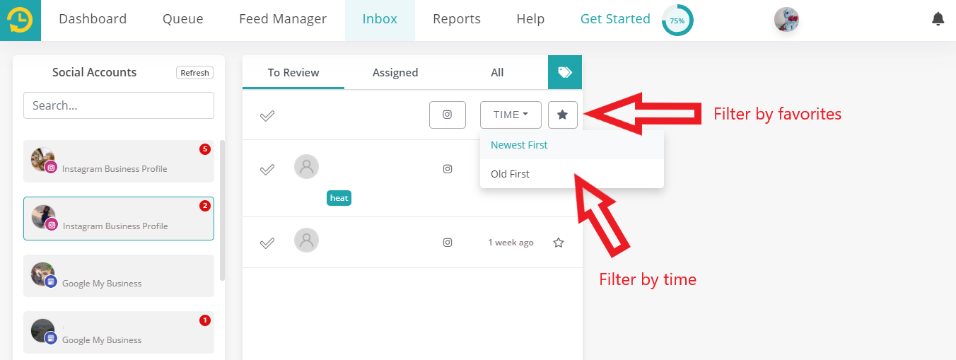 Filter by time/favorites in Social inbox by recurpost as best social media scheduling tool
