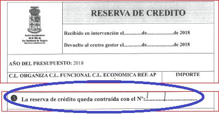 La Reserva de Crédito es un DOCUMENTO OFICIAL DEL AYTOSBT que garantiza el pago de obligaciones con terceros. Además, garantiza la EXISTENCIA de una RELACIÓN CONTRACTUAL con el AYTOSBT. La misma, debe estar FIRMADA y CONTRAÍDA (se verificará).