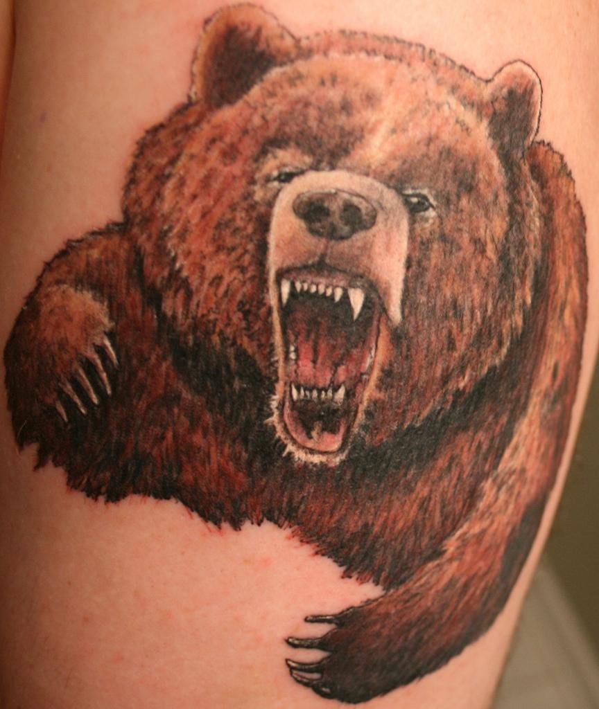 ลายสักหมีเต็มหลัง