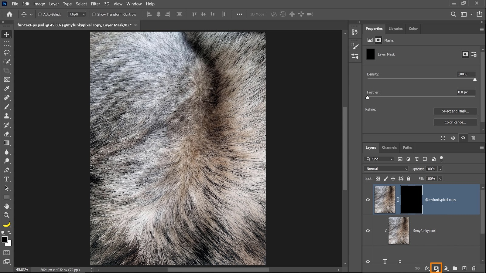 Enable the duplicated fur image layer and hide it by pressing Alt (Windows) or Option (macOS) as you press on the Layer Mask icon to create a black layer mask