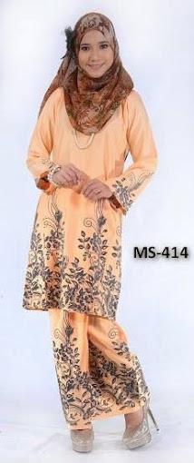 Baju Kurung Pahang Light Oren Orange Baju Raya 2014 Design Terkini