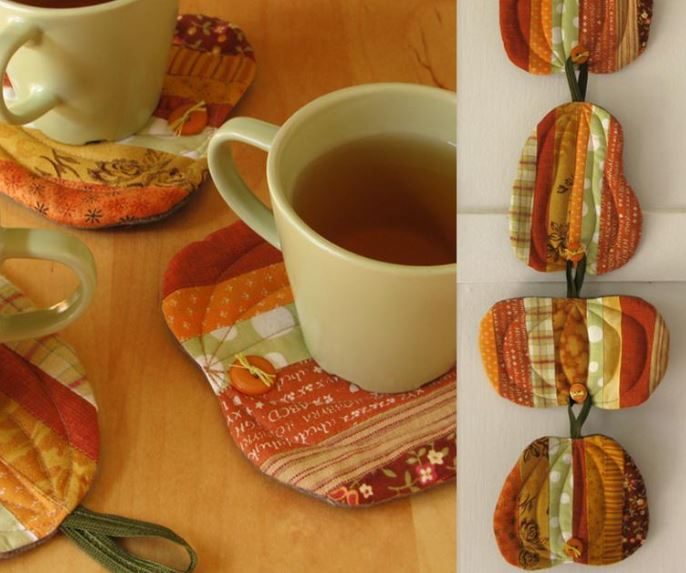Fall Patchwork Potholders, Hanging and Under Cups