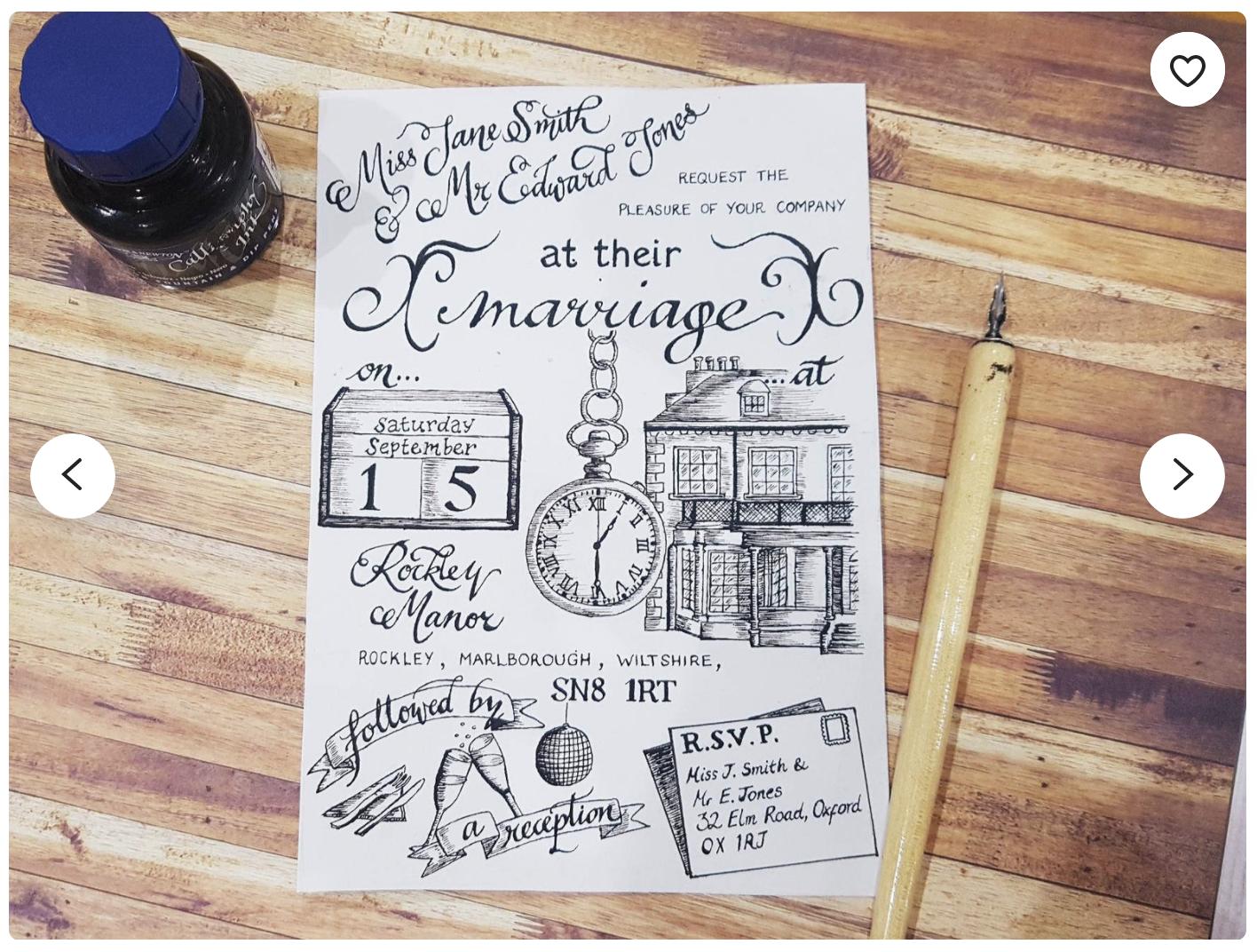artistic modern wedding invitation