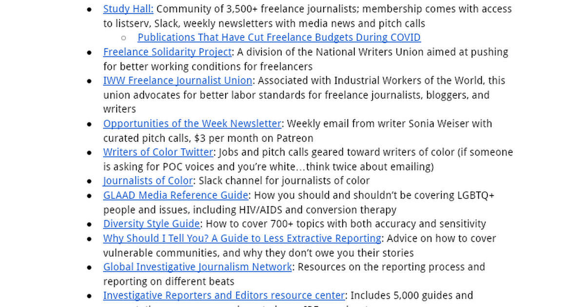 Freelance Reporting Resources